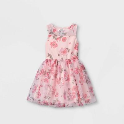 Zenzi Girls' Floral Printed Mesh Dress - Light Pink