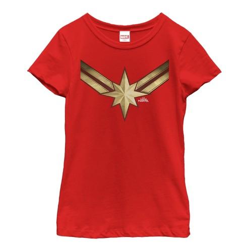 Girl's Marvel Captain Marvel Star Symbol Costume T-Shirt - image 1 of 2