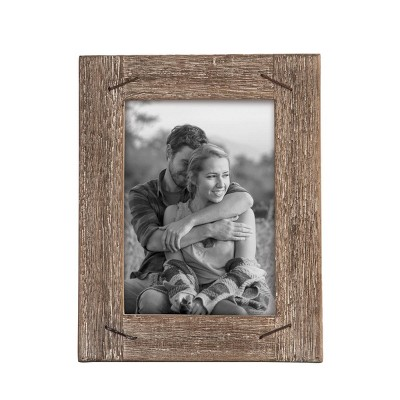 5 x 7 inch Decorative Distressed Wood Picture Frame with Nail Accents - Foreside Home & Garden
