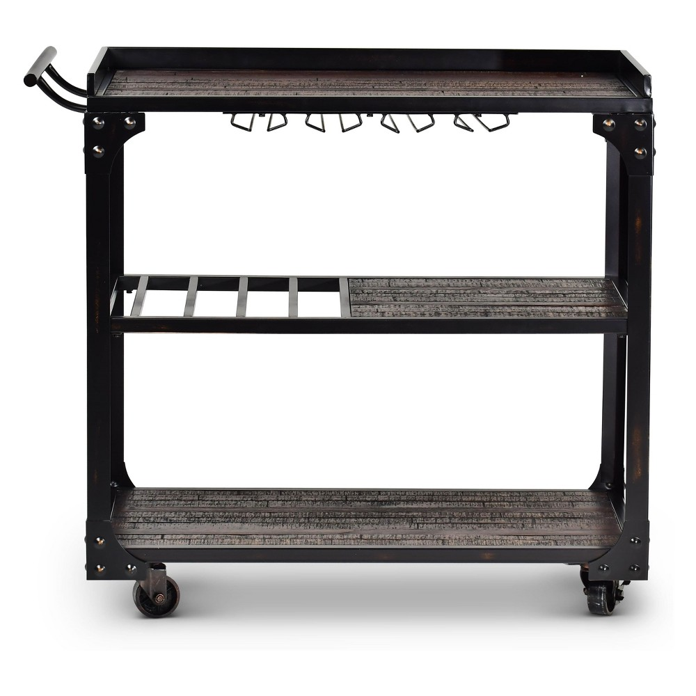 Sherlock Server Cart Tobacco (Black) - Steve Silver