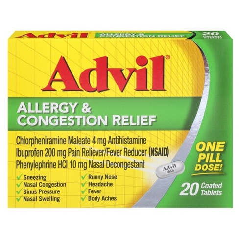 Advil Allergy & Congestion Relief Pain Reliever/Fever Reducer Coated Tablet, 200mg Ibuprofen, Sneezing, Nasal Decongestant, Sinus Pressure - 20ct - image 1 of 3