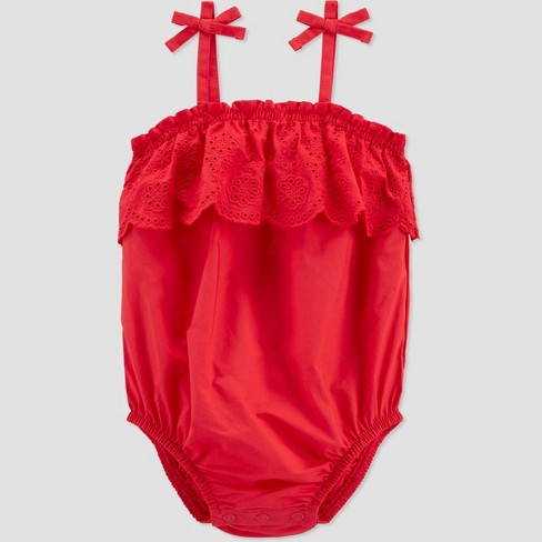 Baby Girls' Eyelet Bubble Romper - Just One You® made by carter's Red  - image 1 of 2