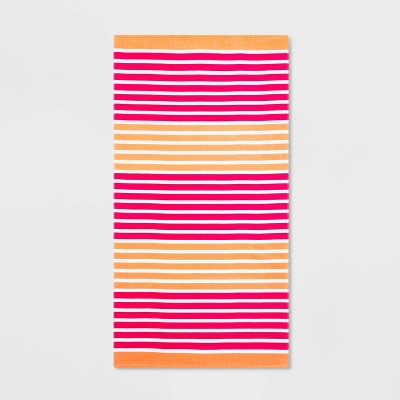 Printed Striped Beach Towel Pink/Coral - Sun Squad™