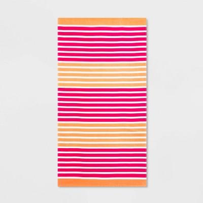 Printed Striped Beach Towel Pink/Coral - Sun Squad™