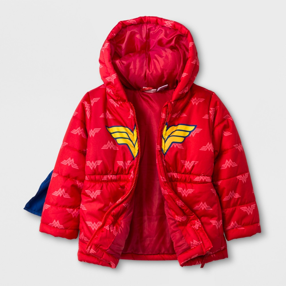 Toddler Girls' DC Comics Coat - Red 2T