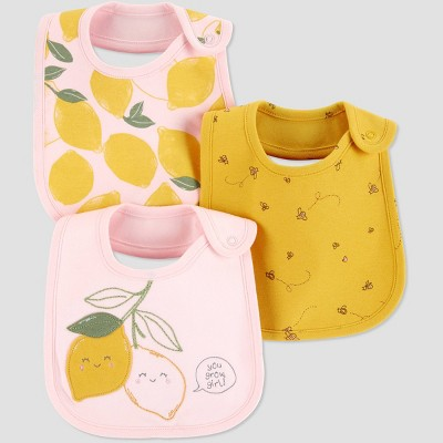Baby Girls' 3pk Lemon Bib - Just One You® made by carter's Yellow One Size