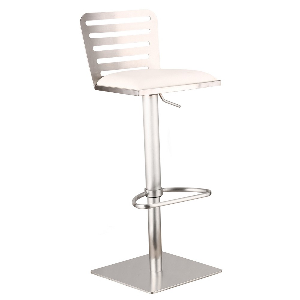 Armen Living Delmar Adjustable Barstool - Stainless/White