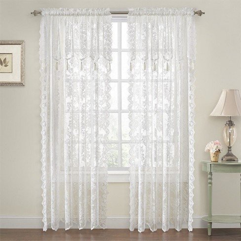 GoodGram Shabby Chic Lace Curtain Panels With Attached Valance - image 1 of 2
