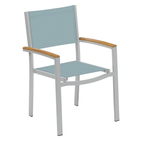 Travira Set of 2 Patio Dining Chairs - Slate Sling - Powder Coated Aluminum Frame - Teak Armcaps - Oxford Garden - image 1 of 1