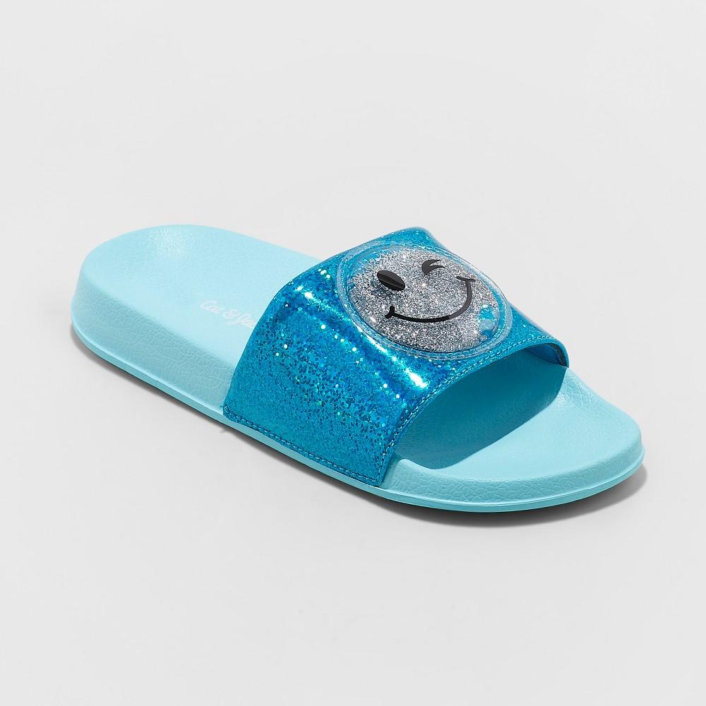 Image of Girls' Aneta Glitter Emoji Slide Sandals - Cat & Jack Turquoise 4-5, Girl's