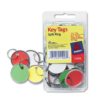 Avery Card Stock Metal Rim Key Tags 1 1/4 dia Assorted Colors 50/Pack 11026