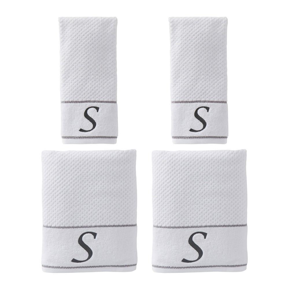 "Image of ""4pc """"S"""" Monogram Bath/Hand Towel Set White - SKL Home"""