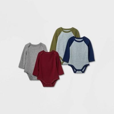Baby Boys' 4pk Long Sleeve Bodysuit - Cat & Jack™ Blue 3-6M