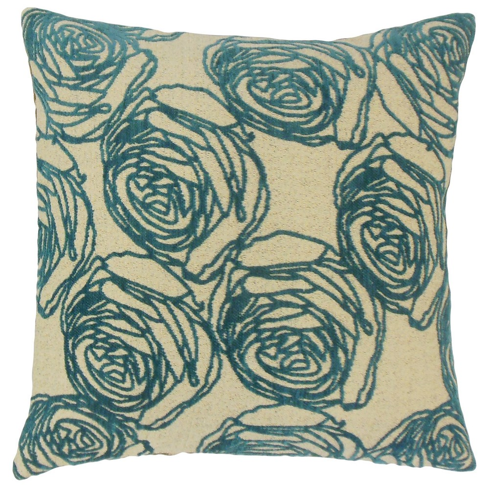 Teal Square Throw Pillow (20
