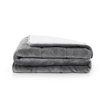 Solid Shiny Velvet Reversible to Sherpa Weighted Throws Gray - Rejuve