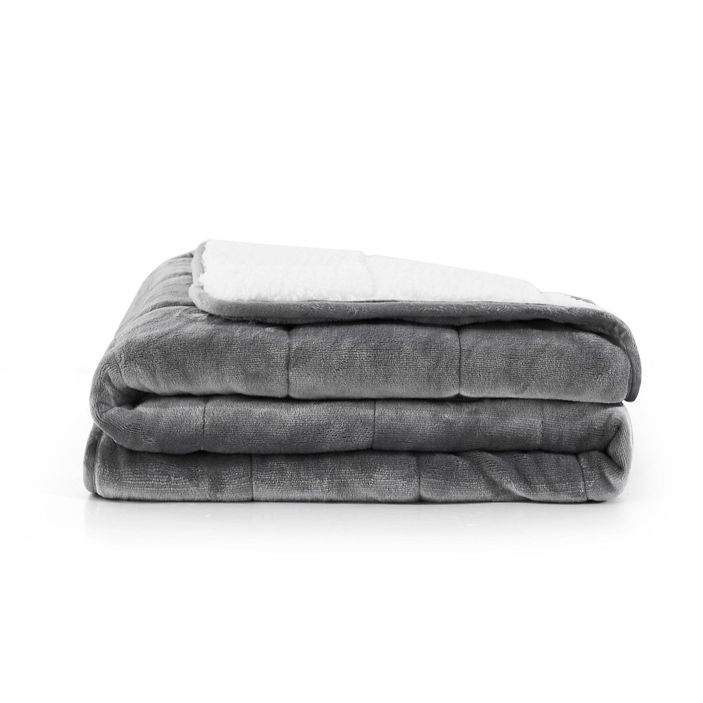 "Image of ""48"""" x 72"""" 15lbs Reversible Velvet Sherpa Weighted Bed Blanket Gray - Rejuve"""