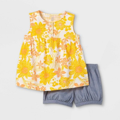 Toddler Girls' 2pc Floral Tank Top and Shorts Set - Just One You® made by carter's Yellow
