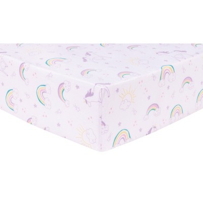 Trend LabDeluxe Flannel Fitted Crib Sheet - Unicorn Rainbow