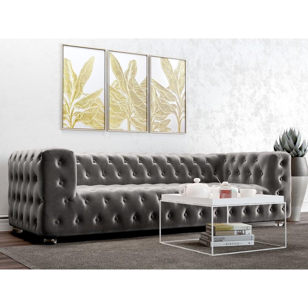Ruby Tufted Velvet Sofa Platinum (White) - AF Lifestlye