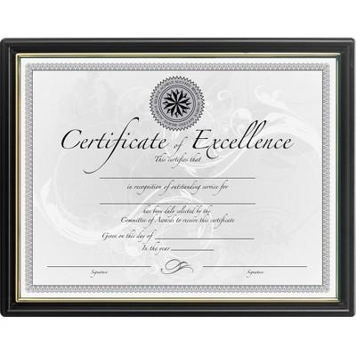 "Burnes Home Accents Certificate Frame Plastic Face 8-1/2""x11"" Black/Gold Frame N1188N5"