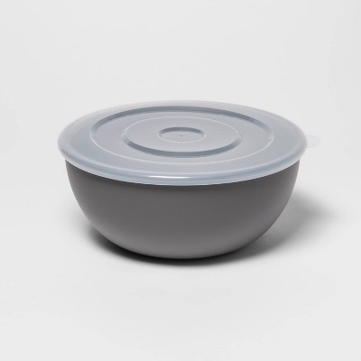 77.8oz Plastic Serving Bowl with Lid Gray - Room Essentials™