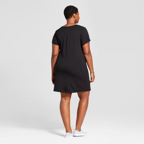 Womens Plus Size T Shirt Dress Ava Viv Black Target