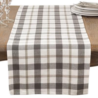 Yuri Classic Plaid Design Casual Cotton Table Runner - Saro Lifestyle