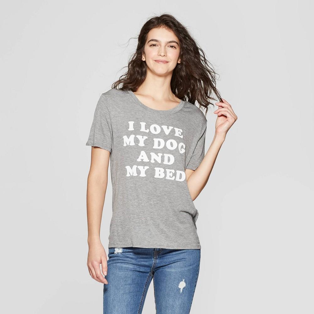 Women's Short Sleeve Crewneck Love My Dog & Bed T-Shirt - Fifth Sun (Juniors') - Gray S