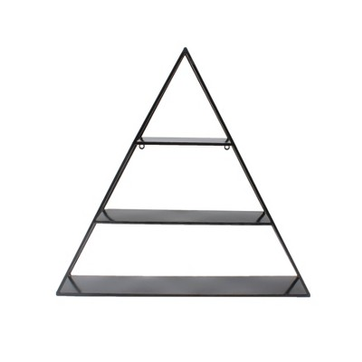 "26.5"" x 28"" Tildan Three-Tier Triangle Wood and Metal Wall Shelf - Kate & Laurel All Things Decor"