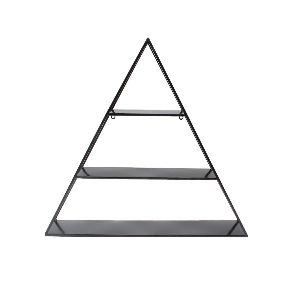 "Image of ""26.5"""" x 28"""" Tildan Three-Tier Triangle Wood and Metal Wall Shelf Black - Kate & Laurel All Things Decor"""