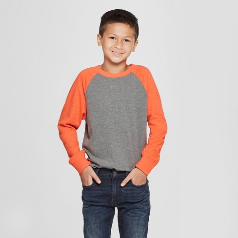 Boys' Long Sleeve T-Shirt - Cat & Jack™ Orange/Gray XXL - image 1 of 3