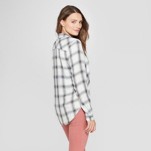 86c51b14 Women's Long Sleeve Plaid Shirt - Universal Thread™ White Plaid : Target