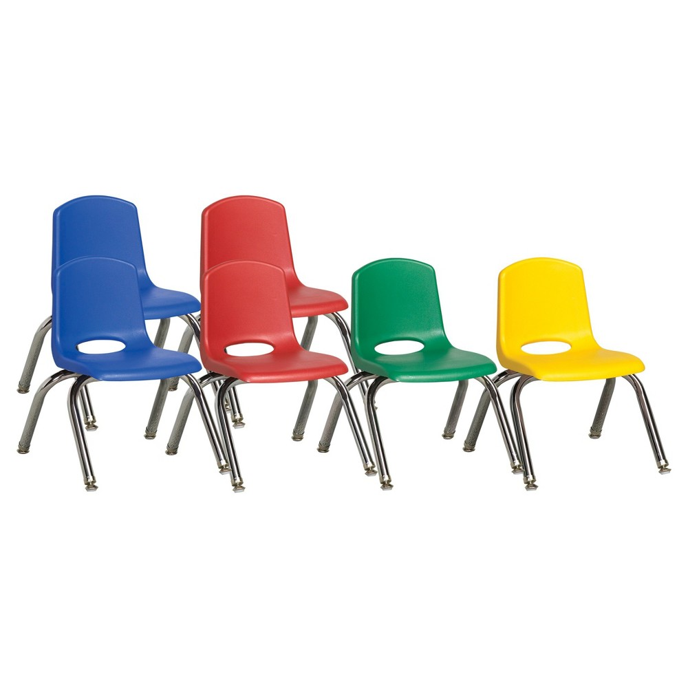 ECR4Kids Stack Chair 10 Assorted Pack with Gliders - Multi-Colored, Blue
