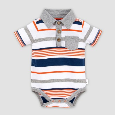 Burt's Bees Baby® Baby Boys' Organic Cotton Striped Polo Bodysuit - 3-6M