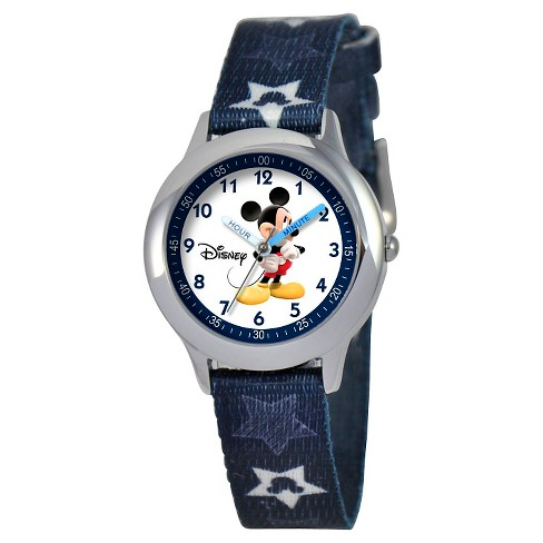 Boys' Disney Mickey Mouse Stainless Steel Time Teacher Watch - Blue - image 1 of 2