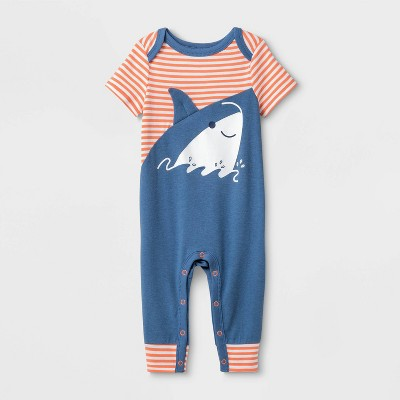 Baby Boys' Shark Romper - Cat & Jack™ Blue 3-6M