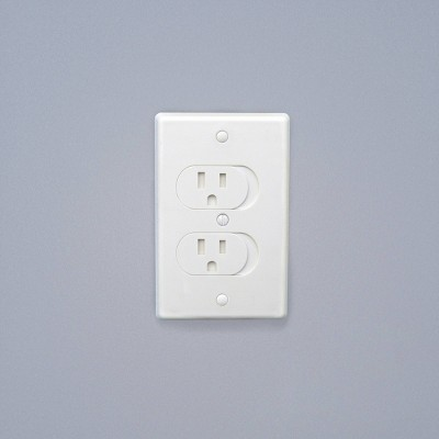 Qdos Universal Self-Closing Outlet Covers - White 3pk