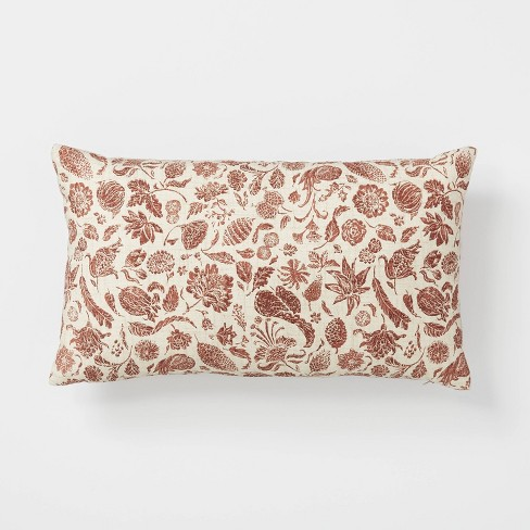 Floral Printed Throw Pillow Rust/Cream - Threshold™ designed with Studio McGee - image 1 of 4