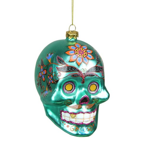 "Northlight 4"" Day of the Dead Glittered Skull Halloween Ornament - Green/Orange - image 1 of 1"