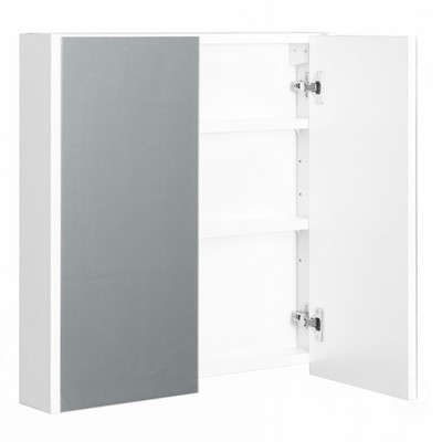 Basicwise 2 Shelves White Wall Mounted Bathroom/ Powder Room Mirrored Door Vanity Cabinet Medicine Chest