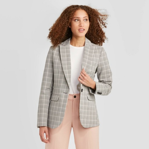 Women's Plaid Long Sleeve Blazer - A New Day™ Gray - image 1 of 3