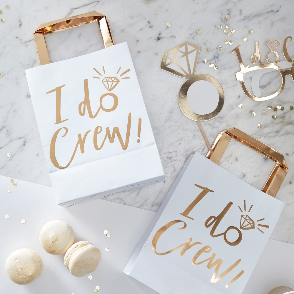 "Image of ""5ct 'I Do Crew"""" Foiled Party Bags, White Gold"""