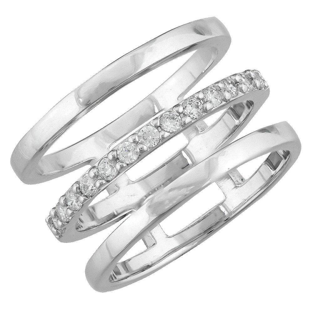 Target Women's Silver Plated Cubic Zirconia Triple Open Band Ring (8)