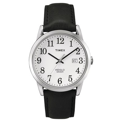 Men's Timex Easy Reader Watch with Leather Strap - Silver/Black TW2P756009J