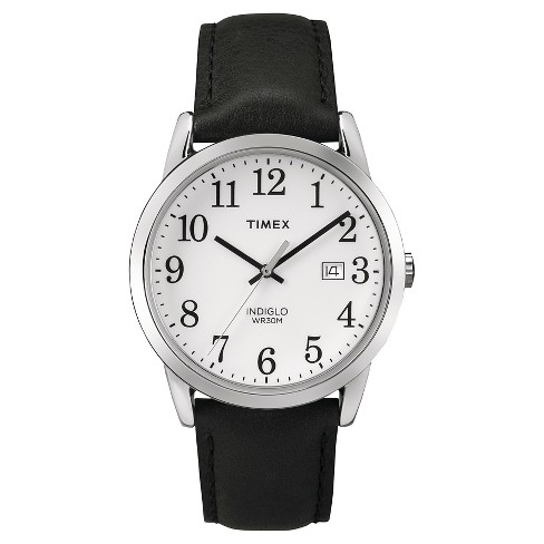 Men's Timex Easy Reader® Watch with Leather Strap - Silver/Black TW2P756009J - image 1 of 1