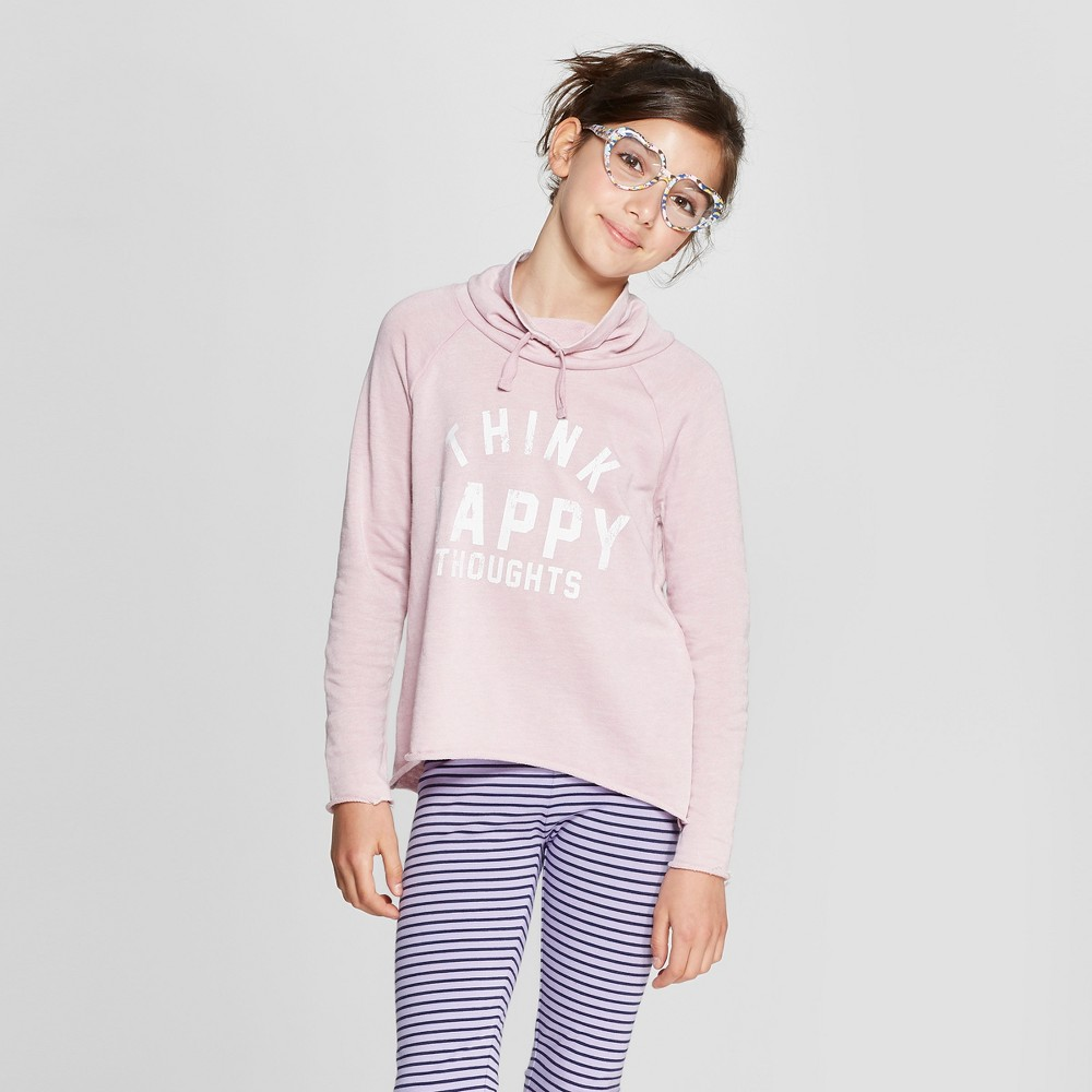 Grayson Social Girls' 'Think Happy Thoughts' Sweatshirt - Light Pink S