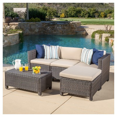 Puerta 5pc Wicker Sectional Sofa Set With Cushions   Christopher Knight  Home : Target