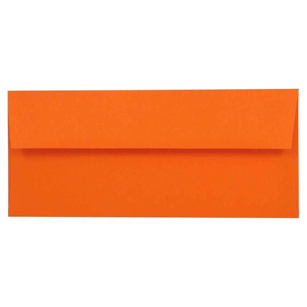 Jam Paper Brite Hue #10 Envelopes, 4 1/8 x 9 1/2, 50 per pack, Orange, Orange Smoothie