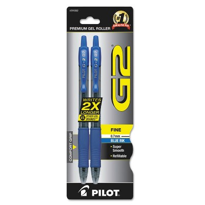 Pilot G2 Premium Retractable Gel Ink Pen Refillable Blue Ink .7mm 2/Pack 31032