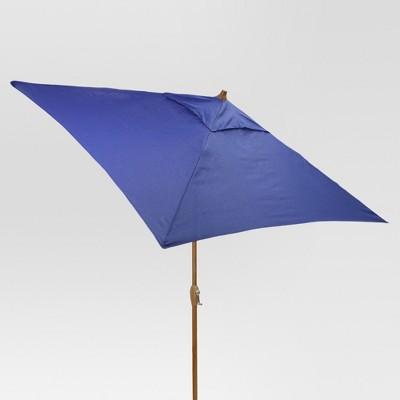 6.5' Square Umbrella - Cobalt - Medium Wood Finish - Threshold™
